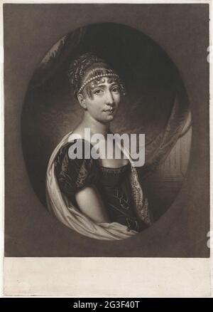 Retrato de Hortense Eugénie de Beauharnais, Reina de Holanda. Hortense Eugénie de Beauharnais con un collar de perlas en el pelo. En 1802 se casó con Luis Napoleón y fue encontrada en 1806 Reina de Holanda. Tres hijos nacieron del matrimonio, incluyendo al emperador Napoleón III