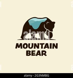 Plantilla de diseño con logotipo de Bear Silhouette with Mountain On its Body. Adecuado para la caza de camping al aire libre deportes de aventura zoológico empresa comunidad de negocios