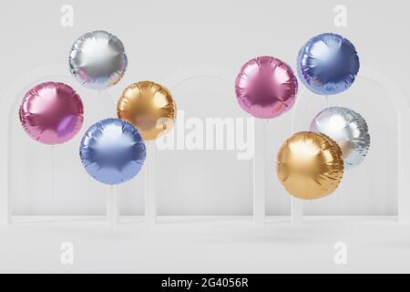 Brillantes globos de colores con arcos blancos, fondo para fiestas, cumpleaños, celebraciones o vacaciones, 3D render realista