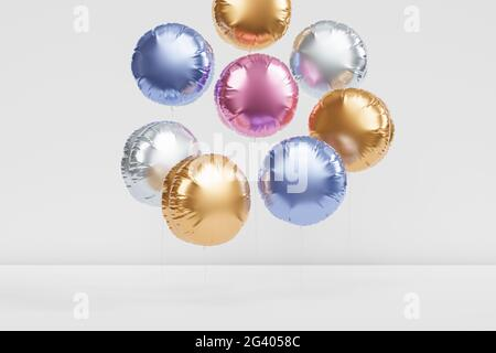 Brillantes globos de colores, fondo para fiesta, cumpleaños, celebración o vacaciones, 3D render realista