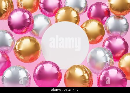 Brillantes globos coloridos con espacio de copia, fondo rosa para fiestas, cumpleaños, celebraciones o vacaciones, 3D render realista