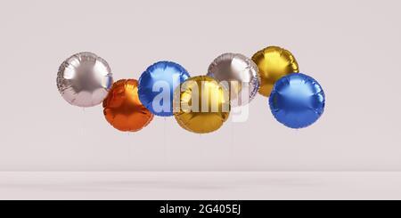 Brillantes globos de colores, fondo de bandera beige para fiestas, cumpleaños, celebraciones o vacaciones, 3D render realista