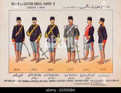 Historia ilustrada del Ejército Turco (Imperio Otomano). Sultán Abdul Hamid II (reinado: 1876-1909). De izquierda a derecha: Capitán de Artillería. Brig