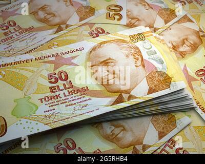 Dinero de Turquía. Cuentas de liras turcas. PRUEBE los billetes. 50 liralar. Negocios, finanzas, antecedentes de noticias.