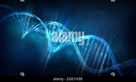 Filamentos de ADN brillantes sobre un fondo azul oscuro, 3D se rinden.