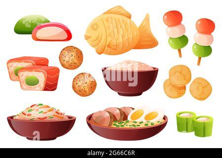 Arroz en tazón, ramen de sopa con fideos y huevos. Comida tradicional japonesa cocinada con arroz. Juego de dibujos animados vectoriales con sushi, peces taiyaki, patatas fritas, dango,