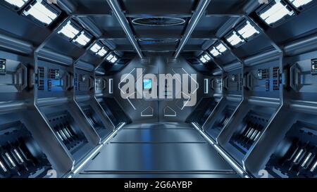 Ciencia fondo ficción interior rendering ciencia ficción pasillos nave espacial luz azul,3D renderizado