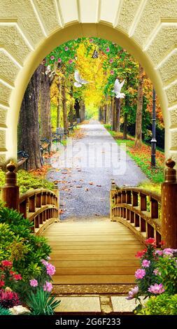 3d mural vista papel pintado . puente de madera y flores con carretera en jardín con árboles y arco con paloma .