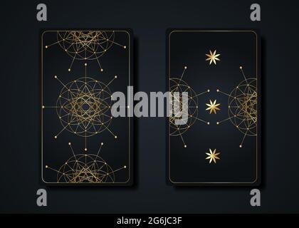 Establecer tarjetas de tarot mágicas, oro mágico oculto sagrado signo de geometría, símbolos esotéricos boho espiritual, Flor de la Vida. Lujo Semilla de vida sagrado mandala.