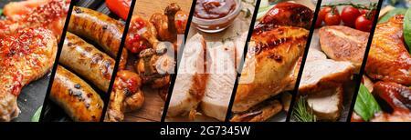 Set de sabrosos platos de pollo, primer plano