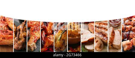 Juego de sabrosos platos de pollo sobre fondo blanco con espacio para texto