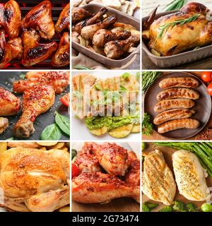 Juego de sabrosos platos de pollo
