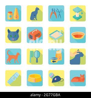 Interior gato accesorios para el cuidado de los iconos planos conjunto con saludable veterinario aprobado alimento abstracto sombra aislado ilustración vectorial