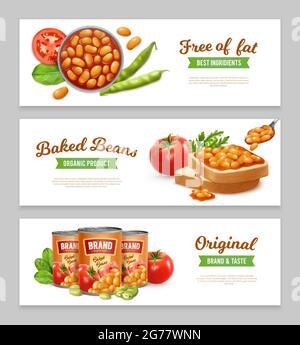 Banners horizontales con frijoles horneados en lata orgánicos; ilustración realista de vectores aislados