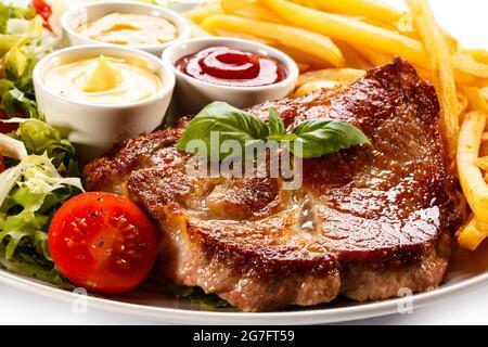Deliciosa comida, carne y verduras