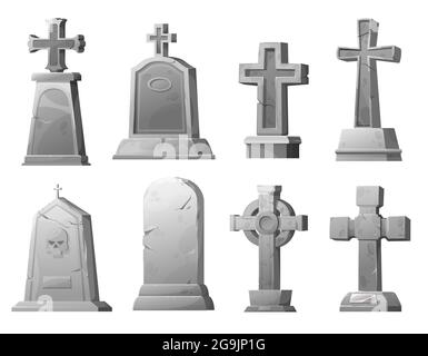 Lápidas de piedra de dibujos animados y tumbas, cementerio vectorial agrietada lápidas cementerio de cementerio. Antigua tumba mausoleo con cráneo, arquitectura funeral de