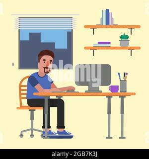 Hombre concentrado trabajando en el ordenador de su oficina.