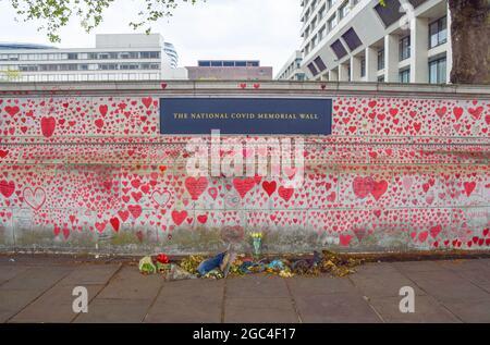 Corazones rojos en el National Covid Memorial Wall fuera del St Thomas' Hospital. 150.000 corazones rojos han sido pintados por voluntarios y miembros del público, uno por cada vida perdida a Covid en el Reino Unido hasta la fecha. Londres, Reino Unido. 2021.