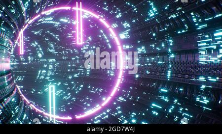 Futurista Neon Light Sci fi Tunnel 3D Render
