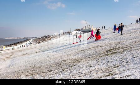 Las familias se divierten trineos en la nieve en invierno en las pistas de Tankerton, Kent, Reino Unido