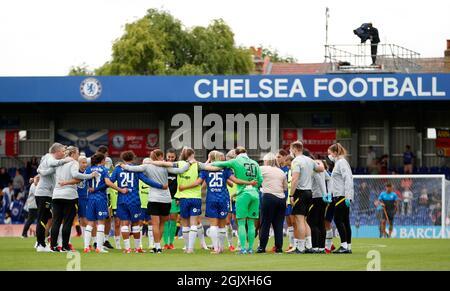 Fútbol Fútbol - SuperLiga Femenina - Chelsea v Everton - Kingsmeadow, Londres, Gran Bretaña - 12 de septiembre de 2021 Chelsea se pone al tanto después del partido Action Images via Reuters/Andrew Boyers
