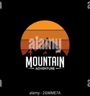 Mountain adventure logo diseño vectorial, puesta de sol al aire libre ilustración gráfica con silueta pico