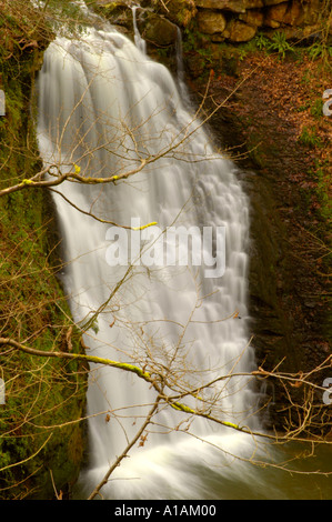 Caída de Foss cascada cerca de Whitby en North York Moors National Park North Yorkshire, Inglaterra Foto de stock