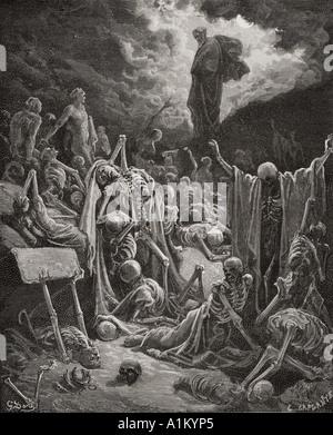 Grabado de La Biblia Doré ilustrando Ezequiel xxxvii 1 y 2. La visión del Valle de los huesos secos por Gustave Doré