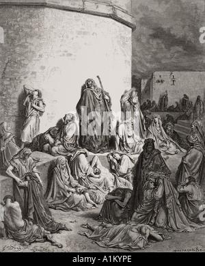 Grabado de La Biblia Doré ilustrando Lamentations I 1 y 2. La gente luto sobre las ruinas de Jerusalén por Dore
