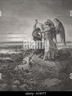 Grabado de la Biblia el Dore ilustrando Génesis xxxii de 24 a 32. Jacob lucha con el Ángel por Gustave Doré