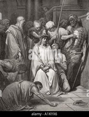 Grabado de La Biblia Doré ilustrando Mateo xxvii 29 y 30. La corona de espinas por Gustave Doré