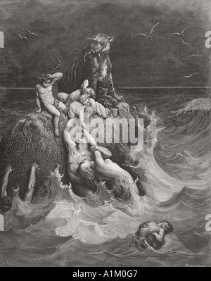 Grabado de La Biblia Doré ilustrando Génesis vii 20 a 24. El diluvio por Gustave Doré