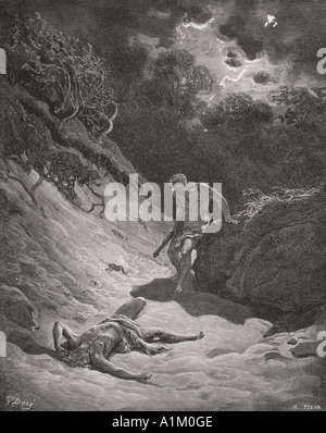 Grabado de La Biblia Doré ilustrando Génesis iv 6 a 12. La muerte de Abel por Gustave Doré