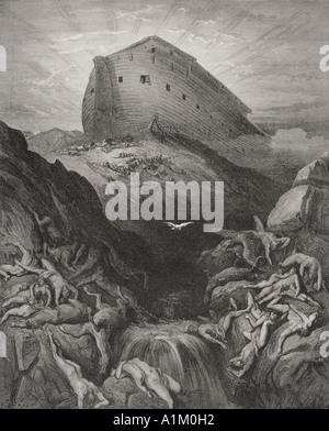 Grabado de La Biblia Doré ilustrando xiii Génesis 8 y 9. La Paloma envió desde el arca por Gustave Doré