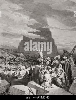 Grabado de La Biblia Doré ilustrando Génesis xi 7 a 9. La confusión de las lenguas por Gustave Doré.