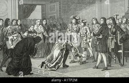 Louis XIV, el Rey Sol, 1638 -1715, presenta a su nieto Philippe V a los enviados españoles.