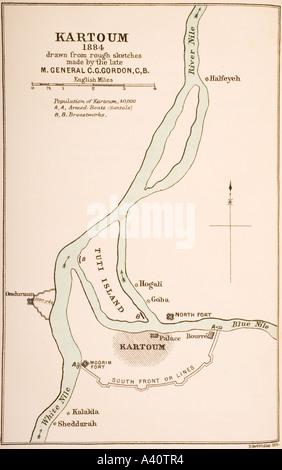 Kartoum, Sudán, en 1884, elaborado a partir de bocetos realizados por el General Gordon
