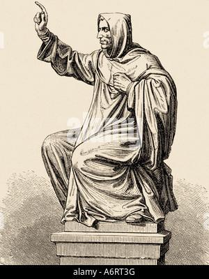 Girolamo Savonarola, 21.9.1452 - 23.5.1498, clérigo Italiano, longitud completa, la estatua de Worms, el grabado del siglo xix, Reformador,