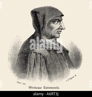 Girolamo Savonarola, 21.9.1452 - 23.5.1498, clérigo Italiano, retrato, cara lateral, grabado por Albert Henry Payne, 19 centu