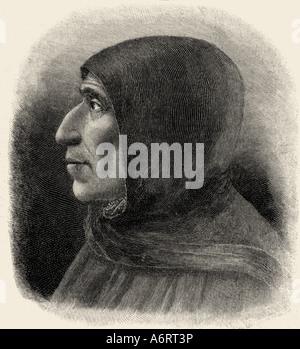 Girolamo Savonarola, 21.9.1452 - 23.5.1498, clérigo Italiano, retrato, cara lateral, grabado después de la pintura de Fra Bartolommeo