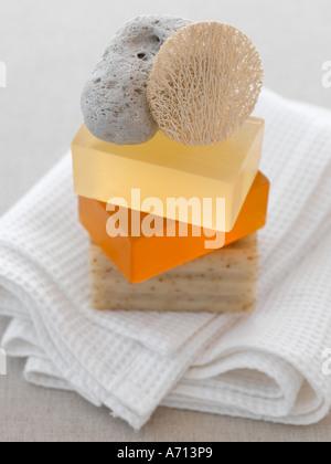 -Los jabones de baño natural exfoliación pómez pad y toalla - gama alta 61mb imagen digital Hasselblad