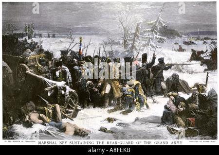 El Mariscal Ney llevar protector trasero francés de Napoleón fuera de Rusia, con grandes pérdidas de 1812. Mano de semitono de color