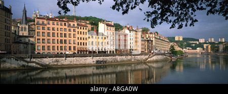 Francia, Rhône-Alpes, Rhône, Lyon, edificios en el quai de Saône Foto de stock
