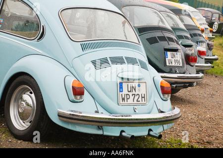 Algunos escarabajos VW de pie en una fila