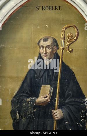 Pintura de San Roberto en la Catedral de Notre Dame Bayeux Normandía Francia Foto de stock