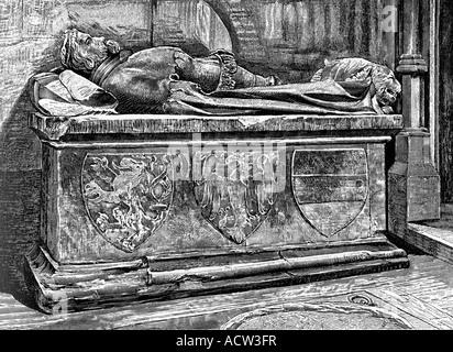 Ottokar II., circa 1232 - 26.8.1278, Rey de Bohemia 23.9.1253 - 26.8.1278, tumba, Catedral de San Vito, Praga, grabado Foto de stock