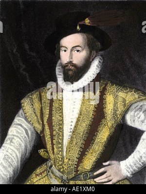 Sir Walter Raleigh. Mano de color acero grabado Foto de stock