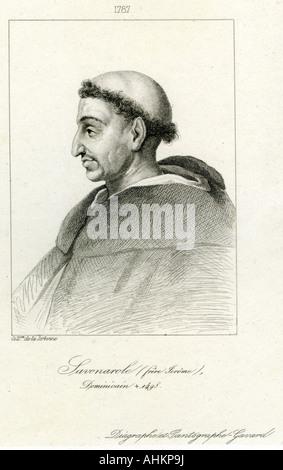 Girolamo Savonarola, 21.9.1452 - 23.5.1498, clérigo Italiano, retrato, grabado, del siglo XVIII, el Copyright del artista no ha de ser borrado