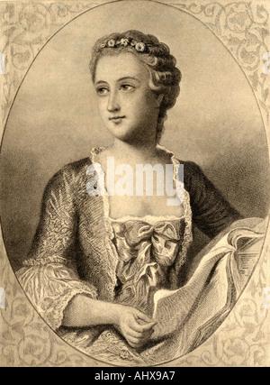 Jeanne Antoinette Poisson, Marquesa de Pompadour, aka Madame de Pompadour, 1721 - 1764. Francés amante de Luis XV.