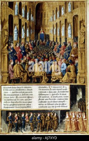 El papa Urbano II presida el Consejo de Clermont, Francia, 1095 (c1490). Artista: Desconocido